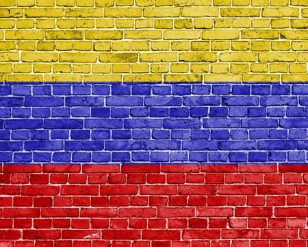 venezuela flag: Grunge Venezuela flag on brick wall