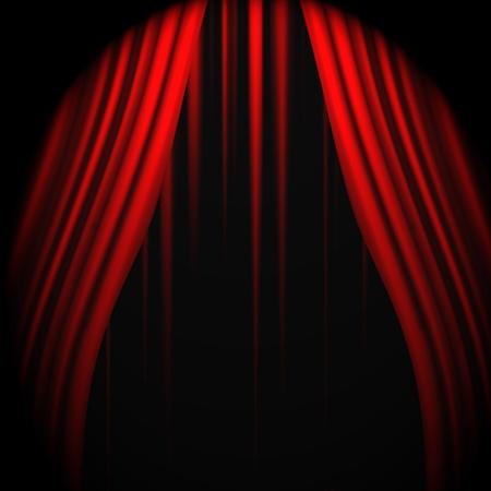 テキストのための場所が付いている赤いカーテン