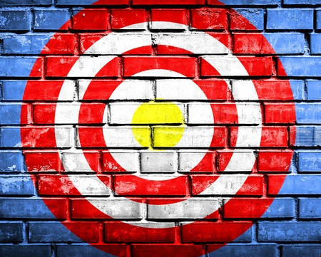 target on brickwall background Stock Photo