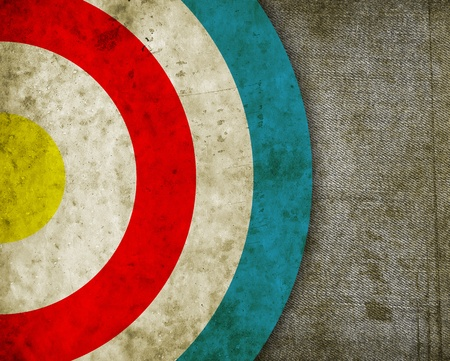 bull     s eye: vintage target painted on the dirty old tissue