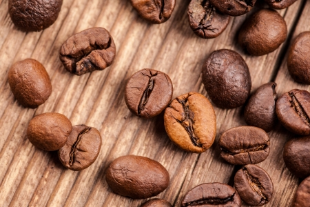 coffee beans on wooden background Stock Photo - 23390643