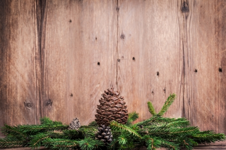 christmas tree branches with bumps on wooden background photo
