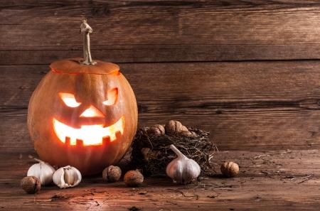 halloween pumpkin with decoration photo