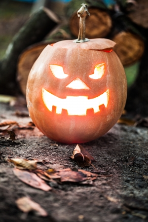 halloween jack-o-lantern standing on ground photo