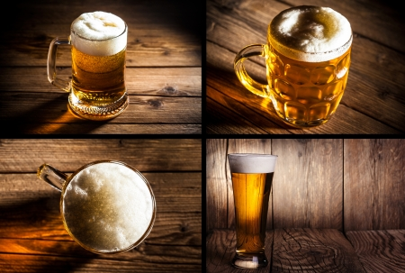 un bottled: collage of four photos illustrating beer Stock Photo