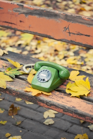 green vintage phone on bench in autumn park photo