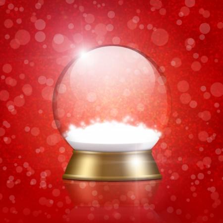 empty snow globe on bokeh background Stock Photo