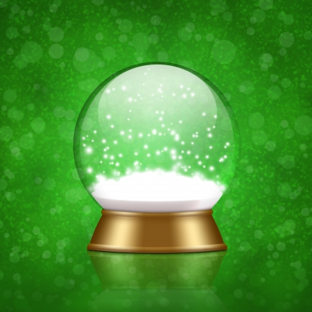 snow globe with snow inside on bokeh background
