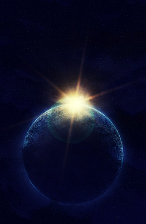 planet in space against the sun.  photo