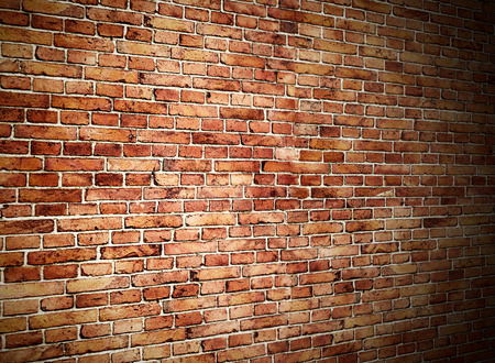 angle view of red brick wall Stock Photo