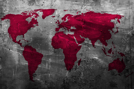 World map on abstract grunge background