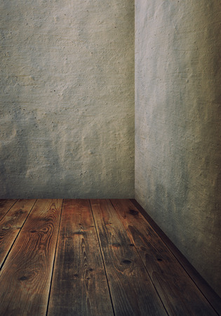 room with grey walls and wooden floor photo