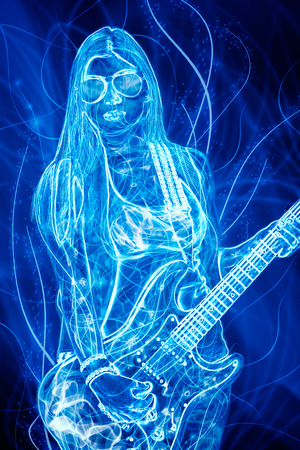 Woman beat guitar: glowing young woman with electric guitar
