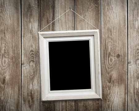 Vintage Photo Frames On Wooden Background Stock Photo, Picture And ...