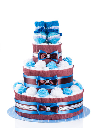baby diaper: cake made from diapers on white background Stock Photo