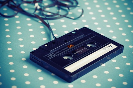 Audio tape cassette with subtracted out tape  Stockfoto