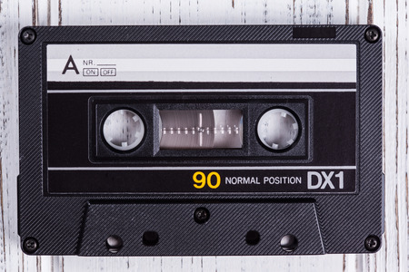 audio cassette with magnetic tape photo