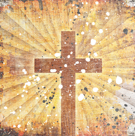 christian background: Brown cross on grunge Background