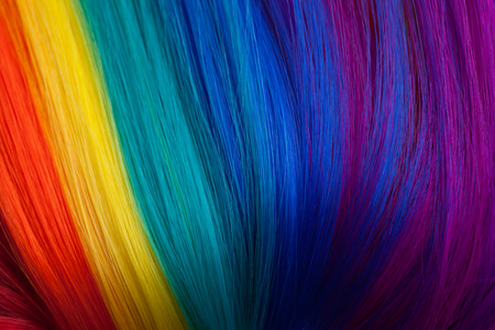 wig: colorful abstract , made from color wig Stock Photo