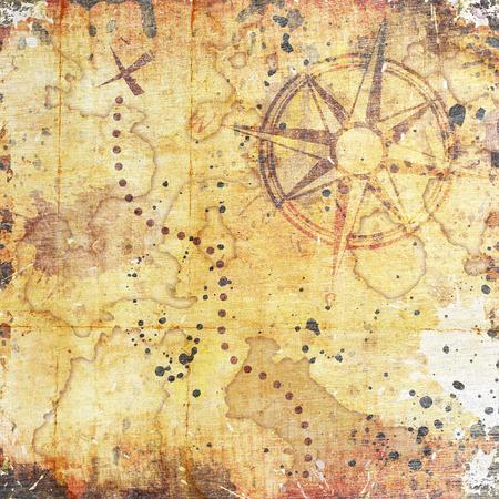 carte trésor: vieille carte au trésor, sur le fond grunge bois