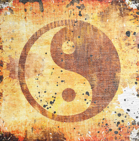 yan: Yin yang symbol on grunge background with stains