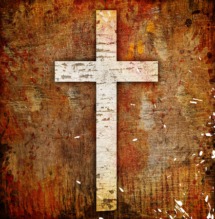 christian symbol: cross on abstract grunge background