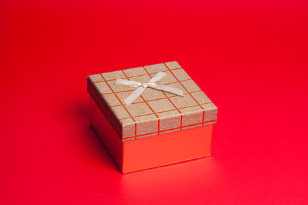 gift box on red background photo