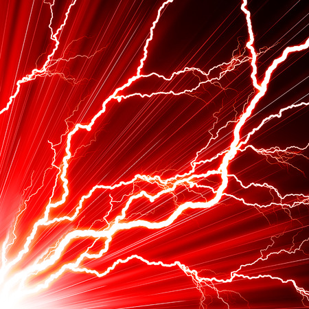 electrocute: Electric flash of lightning on a red background