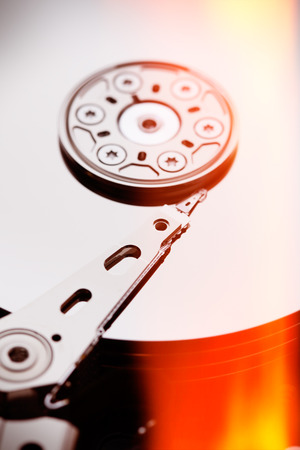 terabyte: Hard disk drive HDD on gray background Stock Photo