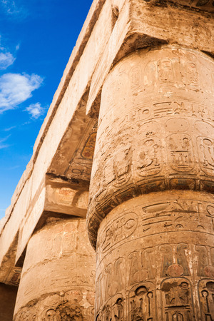 thebes: Great Hypostyle Hall and clouds at the Temples of Karnak (ancient Thebes). Luxor, Egypt