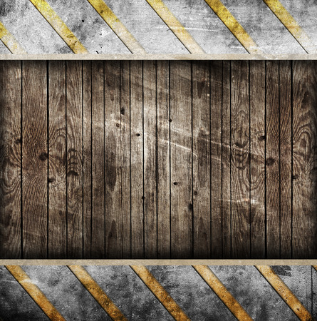 metal background with wooden frame photo