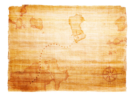 Old treasure map with compass photo