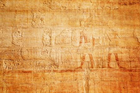 パピルスの背景に古いエジプト象形文字 写真素材