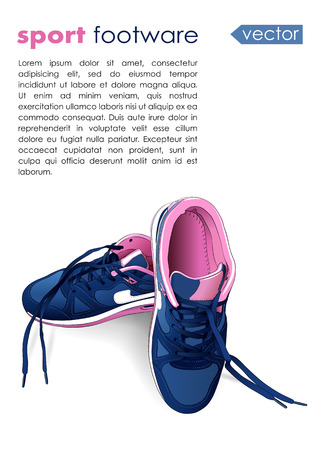 fashion shoes: vector sport footware isolated on white background with place for text. EPS Illustration
