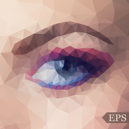 brow: Low poly abstract illustration of eye and brow. EPS