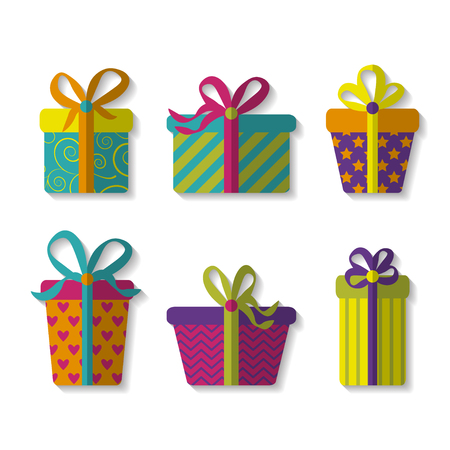 wrap wrapped: vector set of cute colorful gift boxes. EPS Illustration