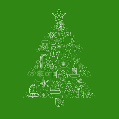house of santa clause: christmas design elements in the form of tree. EPS