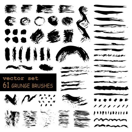 vector set of 61 hand-drawn grunge brushes. EPS