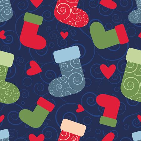 socks: vector seamless christmas pattern with santa socks. EPS