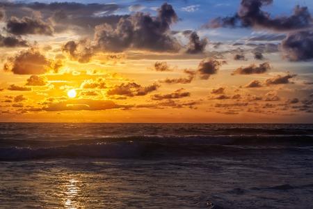 sunrise: Beautiful sunrise with orange sk in the Indian Ocean Stock Photo