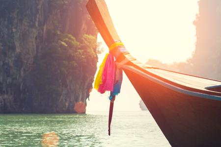 long boat on beautiful island in Thailand Banco de Imagens