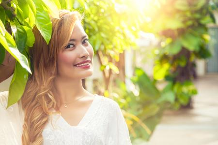 the enchantress: Beautiful Thai girl wear in white dress