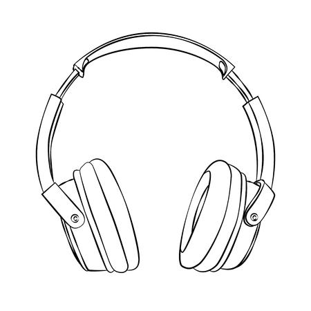 audifonos: esbozo de los auriculares contra el fondo blanco de vectores dibujados a mano.