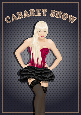 cabaret stage: vector illustration of beautiful cabaret show woman.