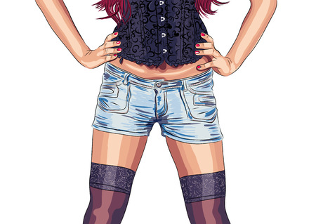 vector woman legs wearing jeans shorts and stockings.