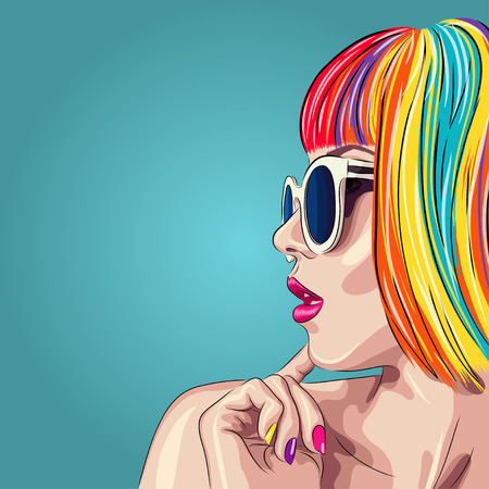 vector beautiful woman wearing colorful wig and white sunglasses. Çizim