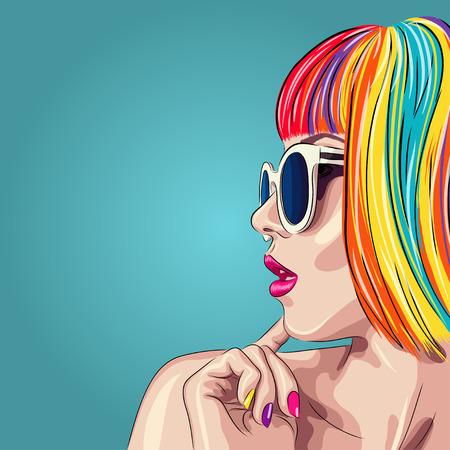 uroda: wektor piękna kobieta nosi kolorowe peruki i białe okulary. Ilustracja