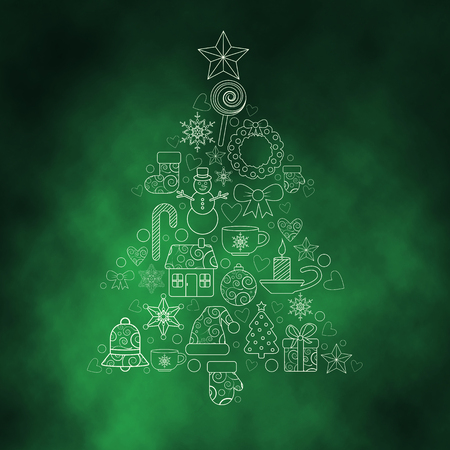 house of santa clause: christmas design elements in the form of tree Stock Photo