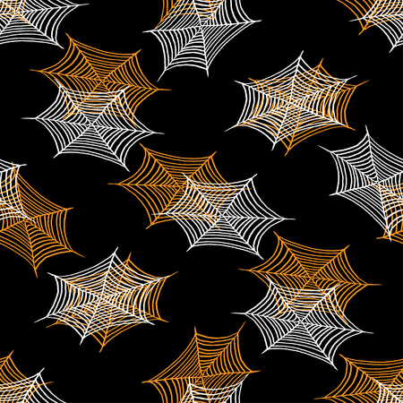 spider webs: vector halloween seamless pattern with spider webs. EPS Illustration