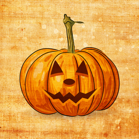 cucurbit: Scary Jack O Lantern halloween pumpkin on grunge background